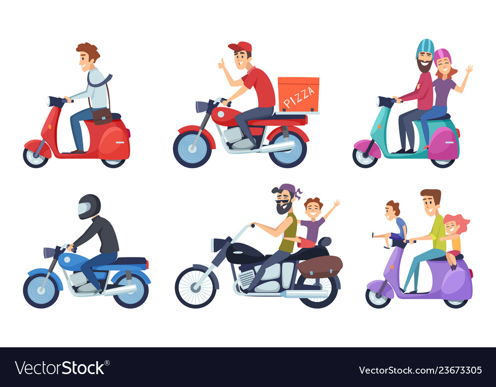 Motorcycle driving man rides with woman and kids