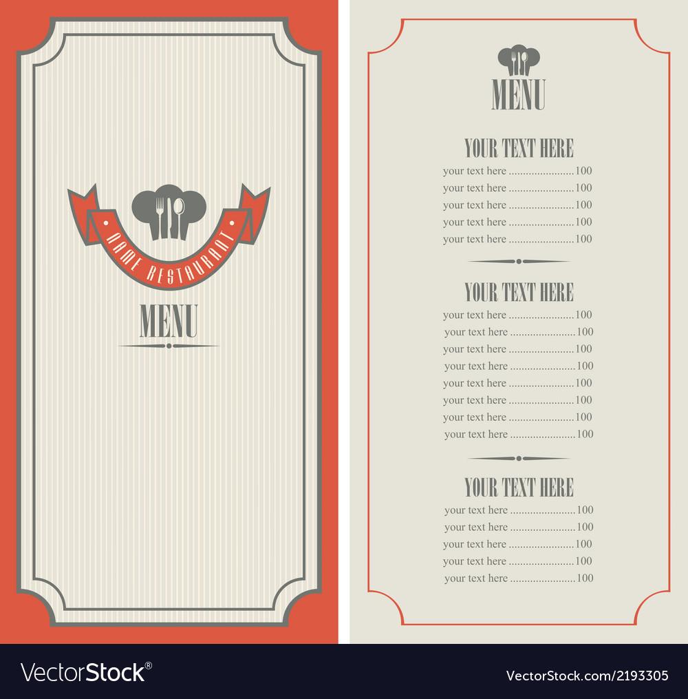 Retro menu vector image