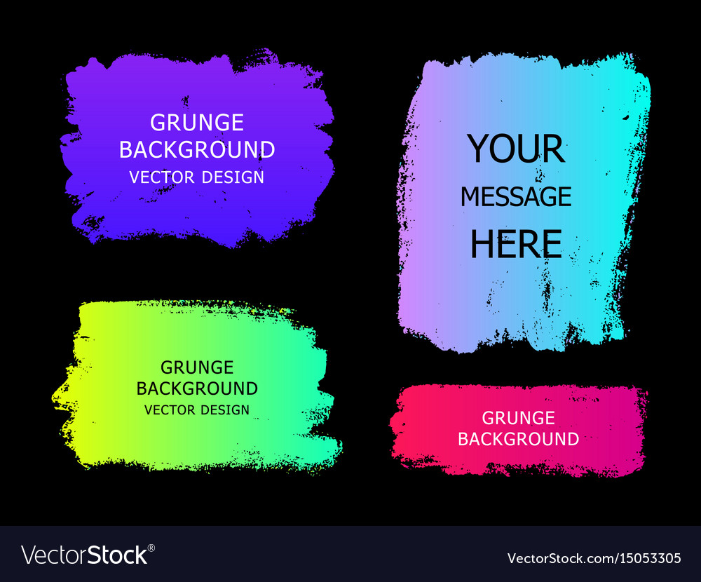 Set of trendy gradient grunge paint background vector image
