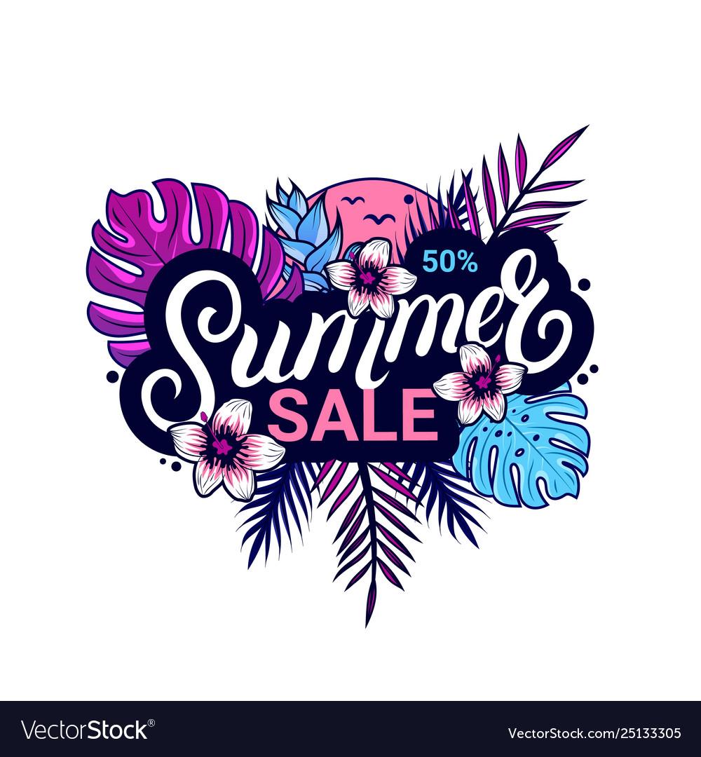 Summer sale banner design with jungle plants