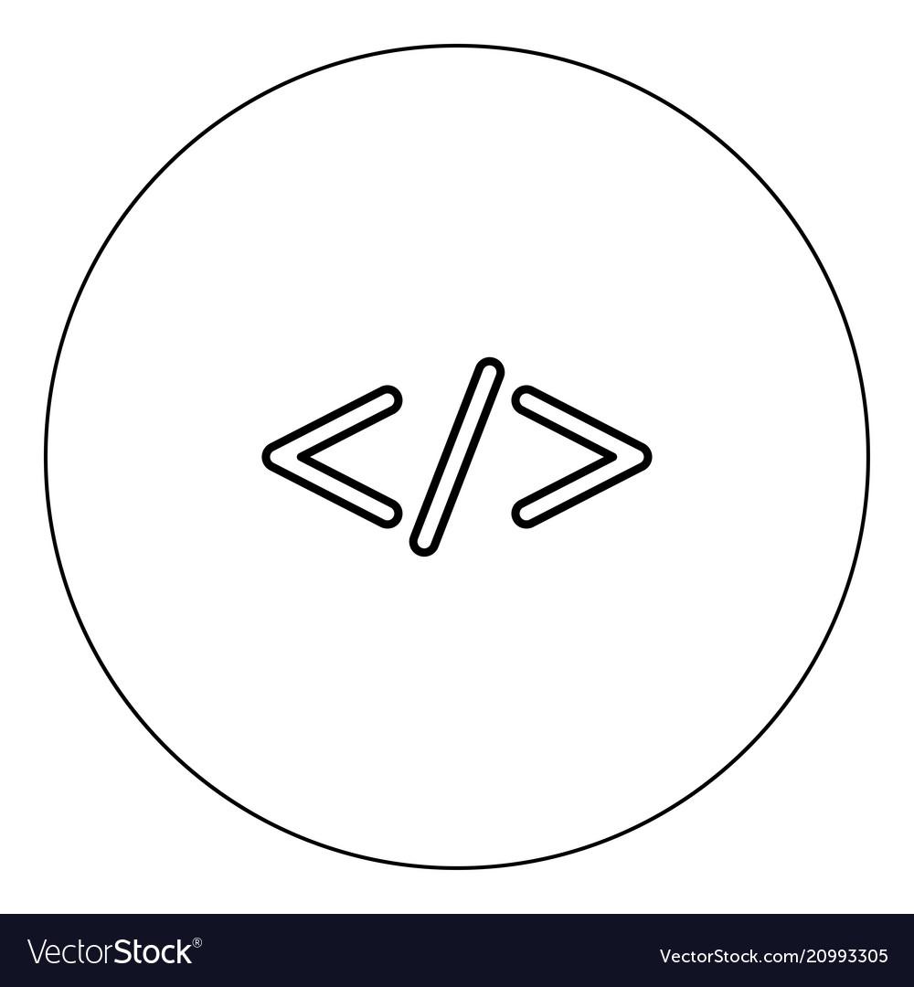 Symbol code icon black color in circle vector image