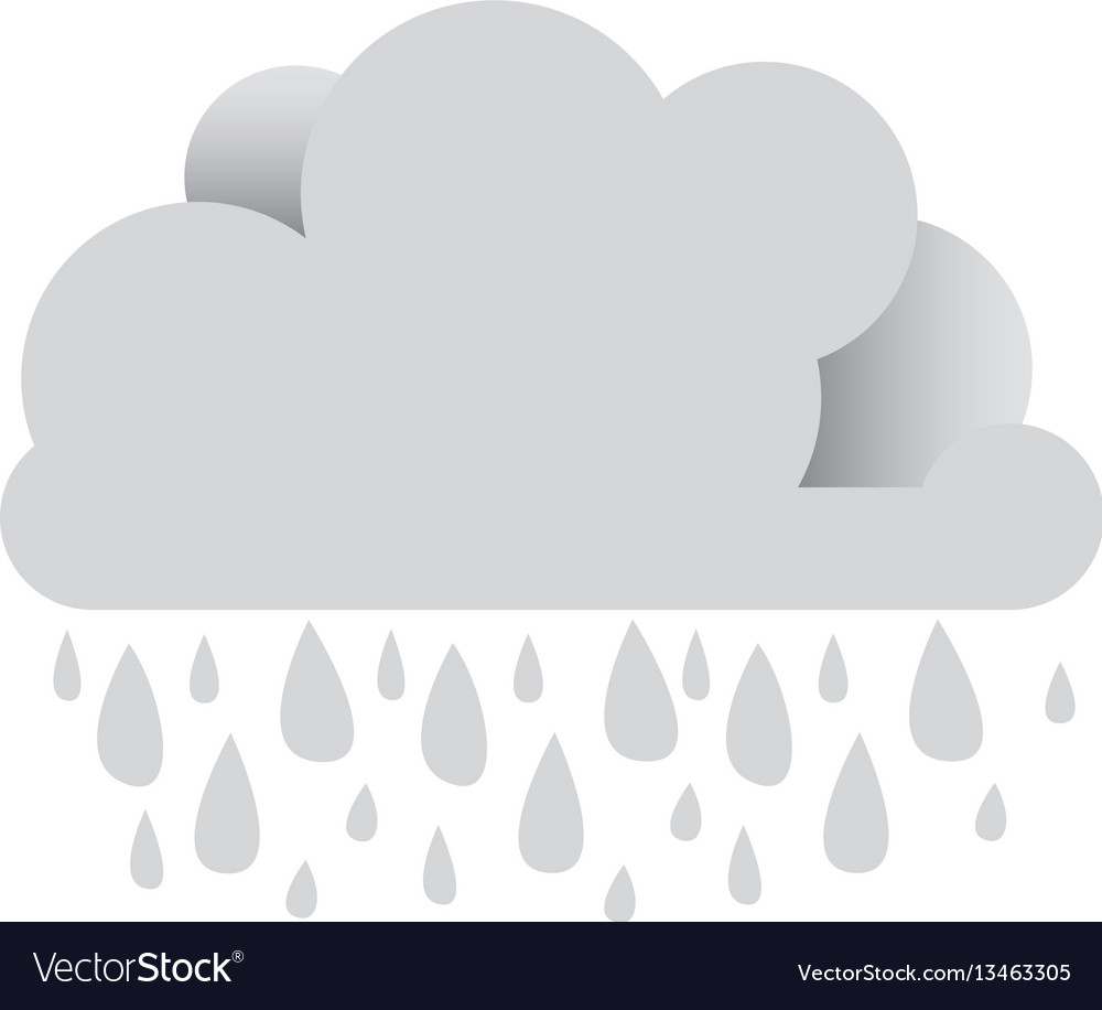 White cloud with rain icon vector image