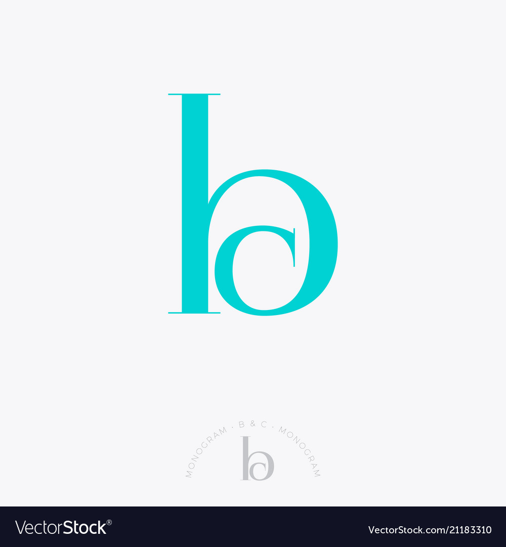 B c monogram combined letters classic style