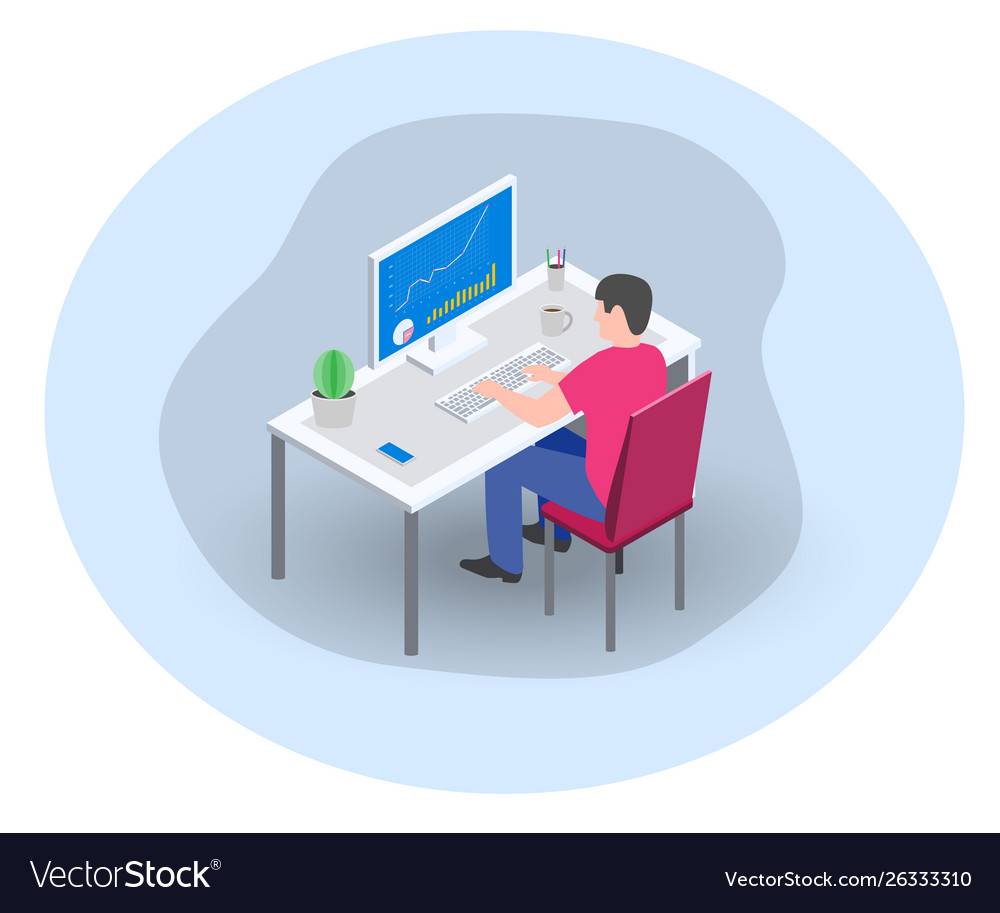 Businessman manager marketer working at computer