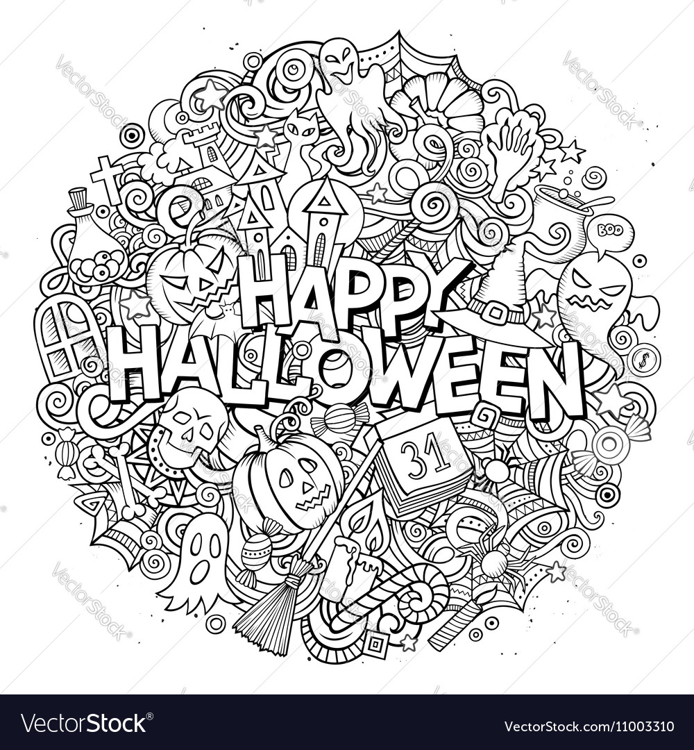 Cartoon cute doodles Halloween inscription