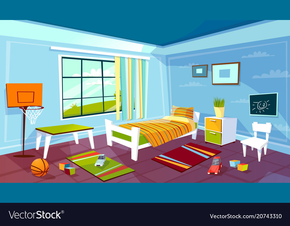 Child room cartoon of kid boy