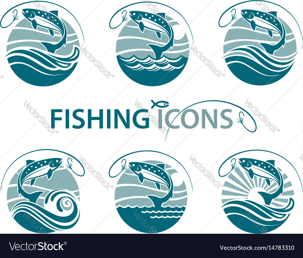 Fishing emblems set