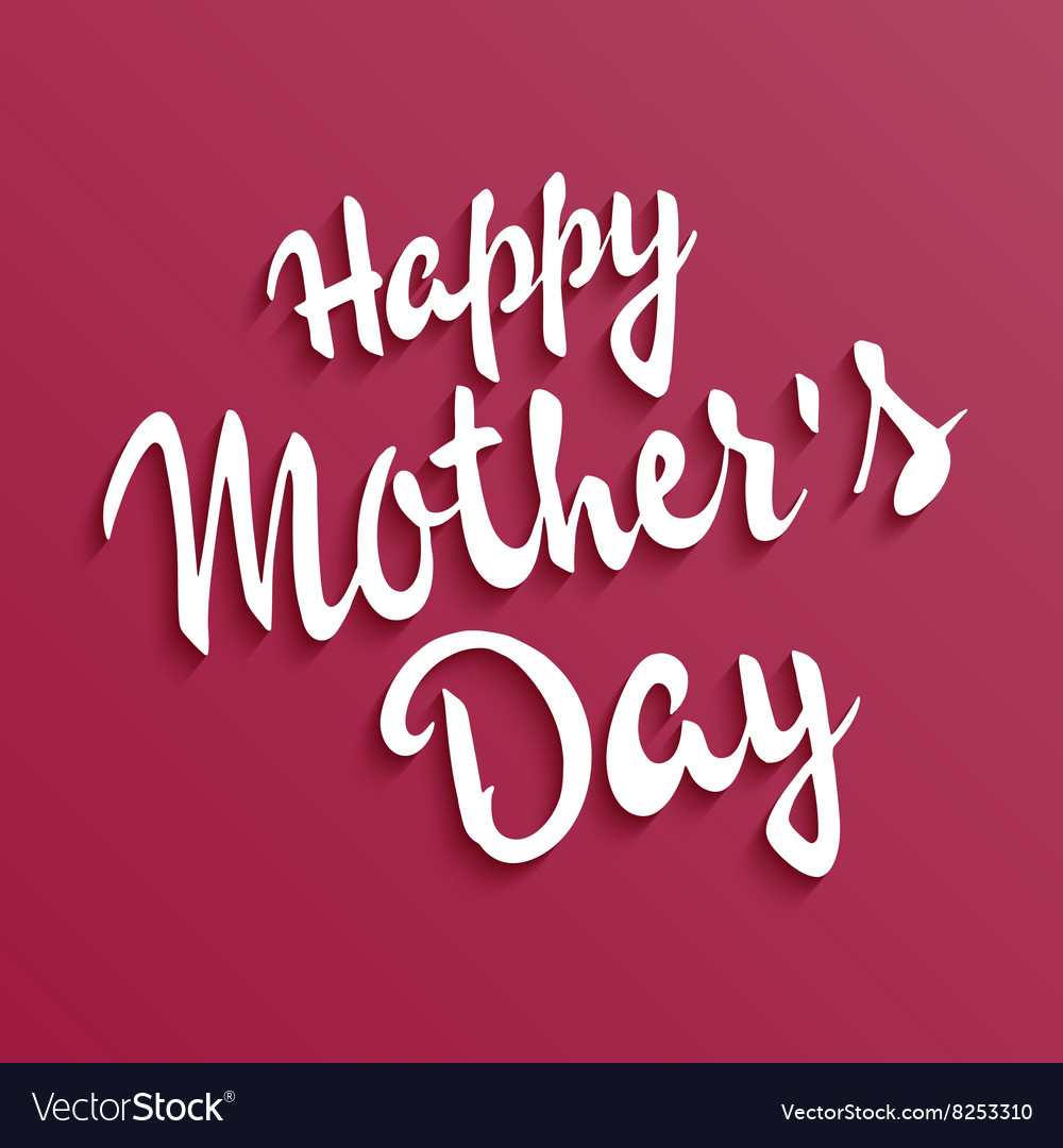 Hand drawn mothers day lettering On a red backdrop vector image