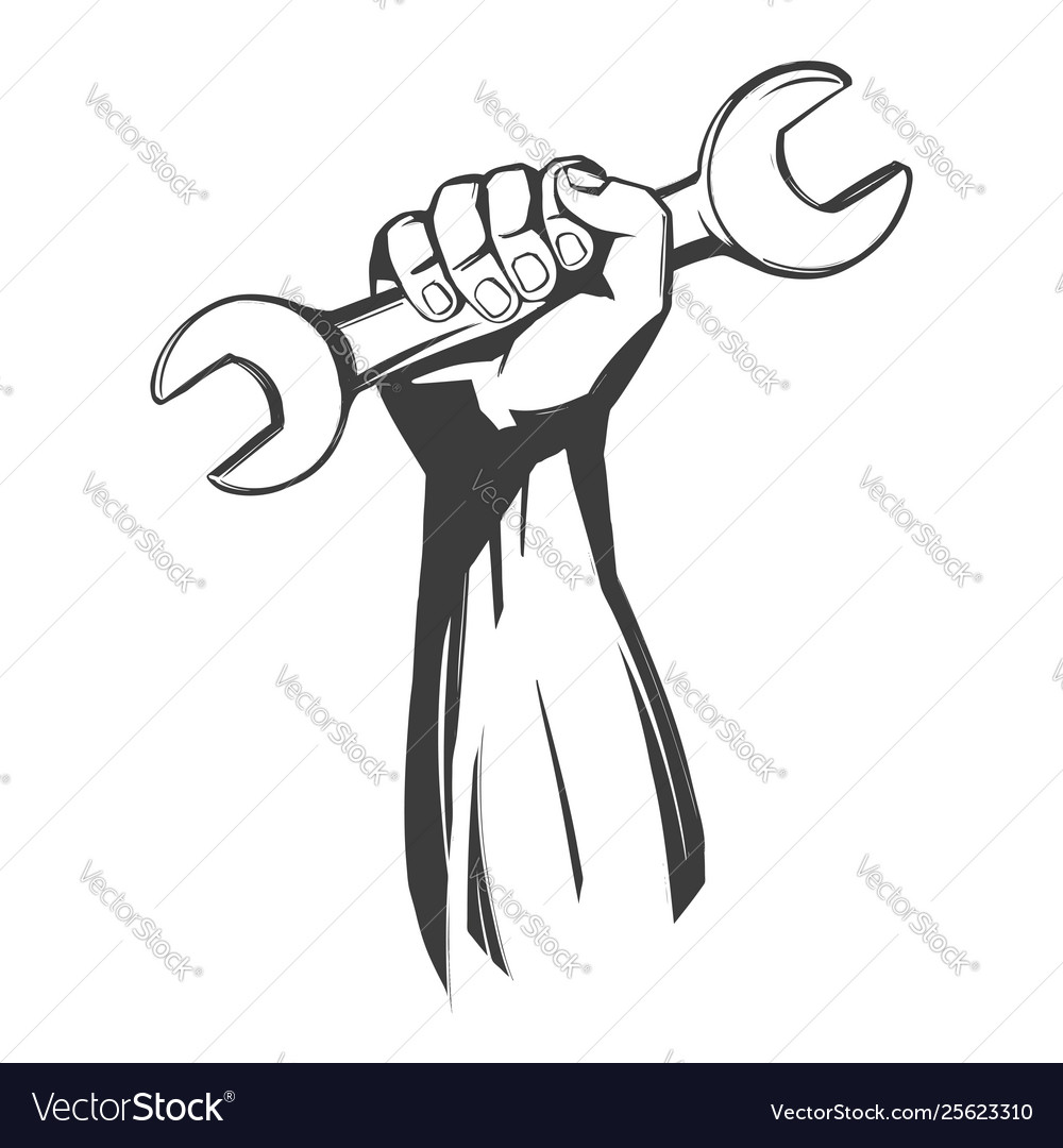 Hand holding a wrench tools icon cartoon hand