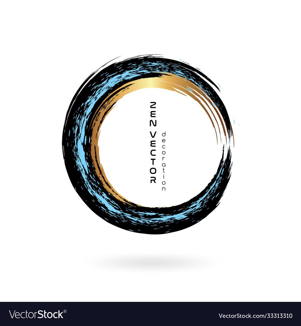Ink zen circle emblem hand drawn abstract