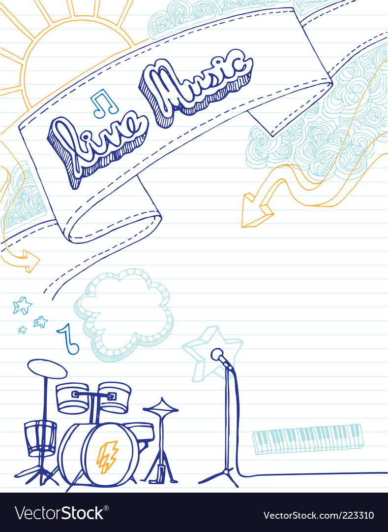 Live music doodle vector image