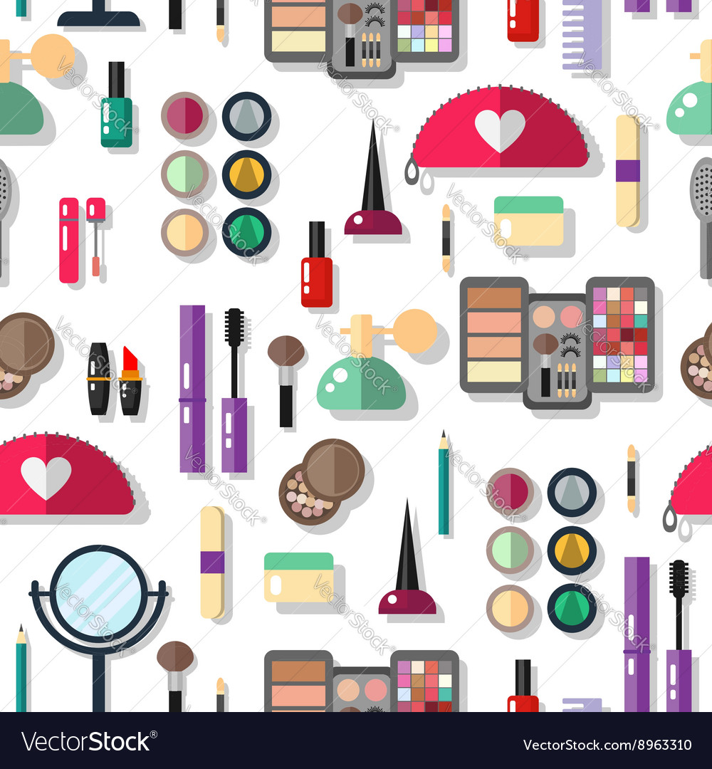 Seamless background with cosmetics flat icons