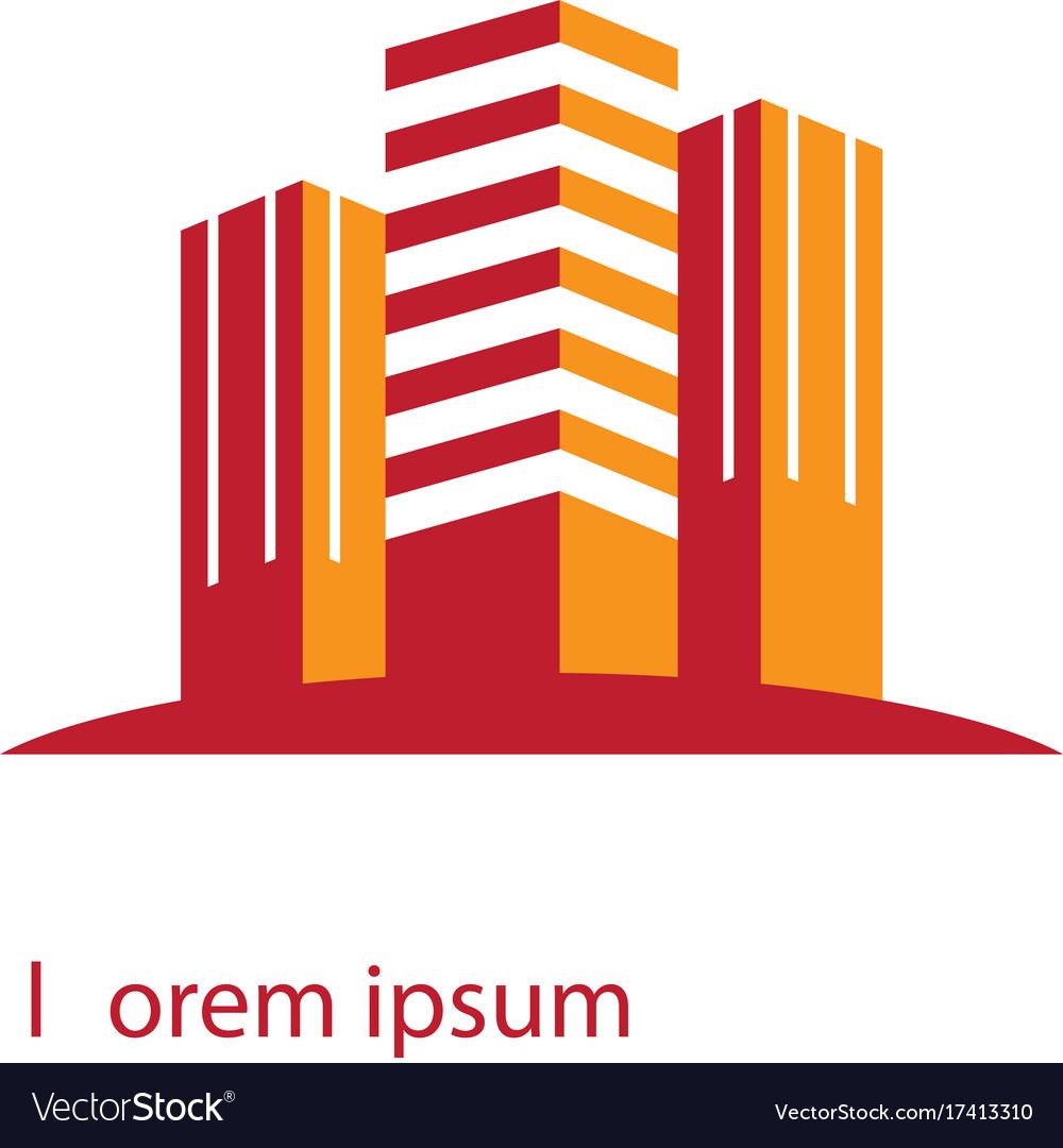 Skyscraper building business logo contruction