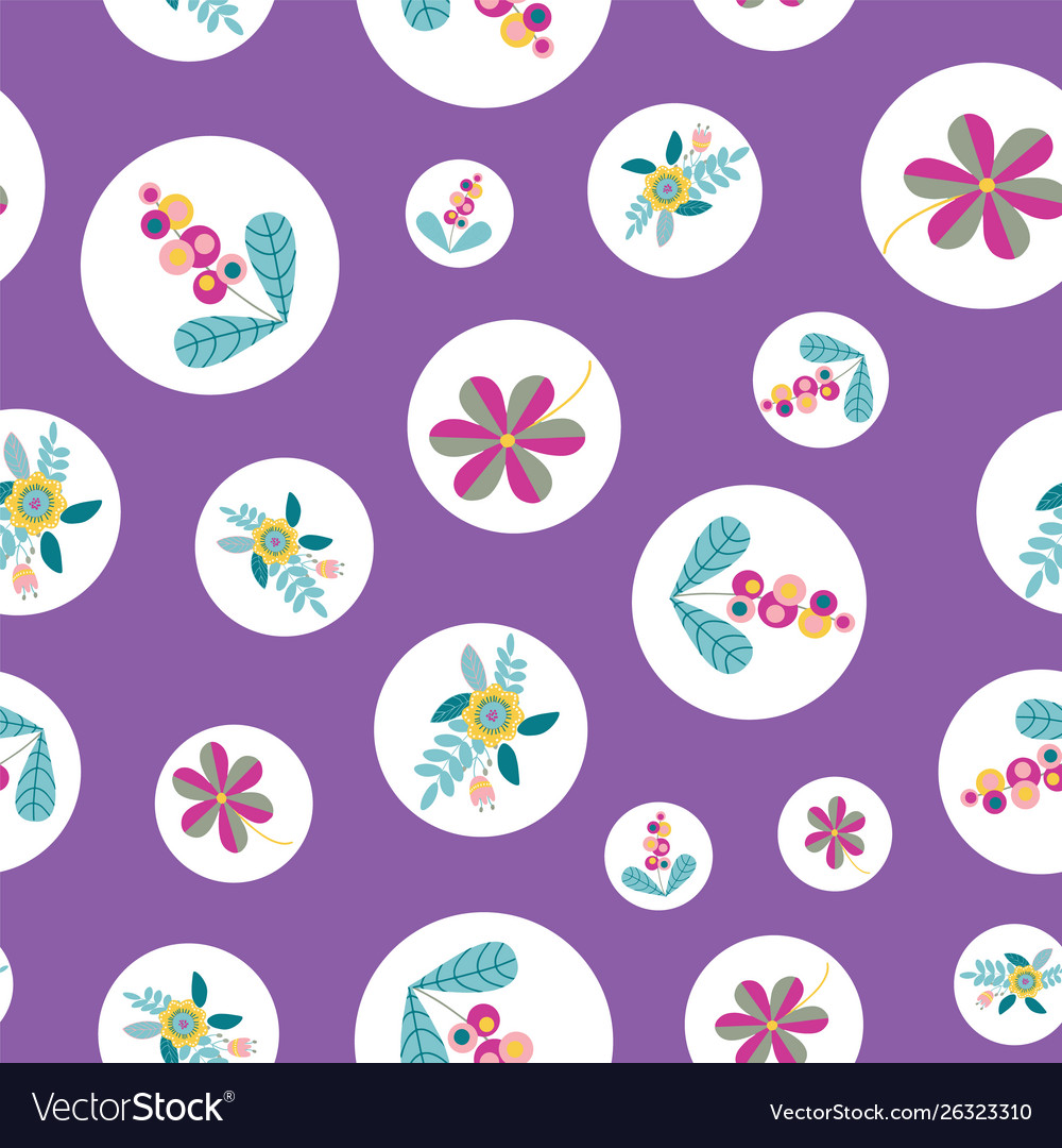 Stylized flower inside circle seamless