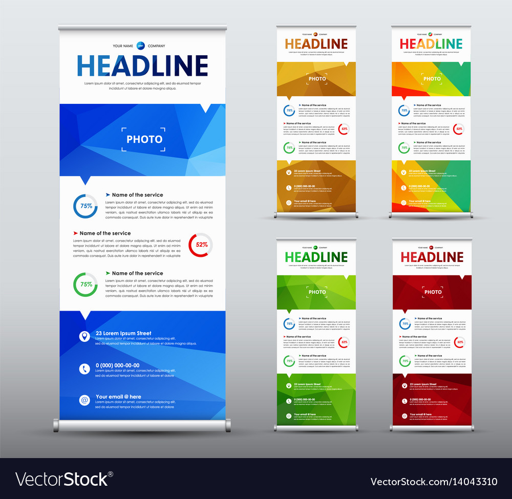 Vertical roll up banner desig with abstract