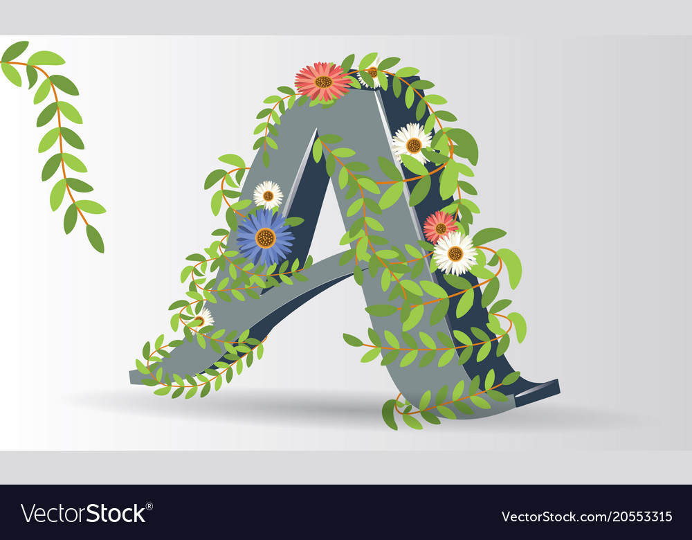Alphabet letter a symbol with flowers and leaves