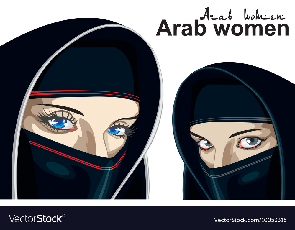 Arab women on a transparent background