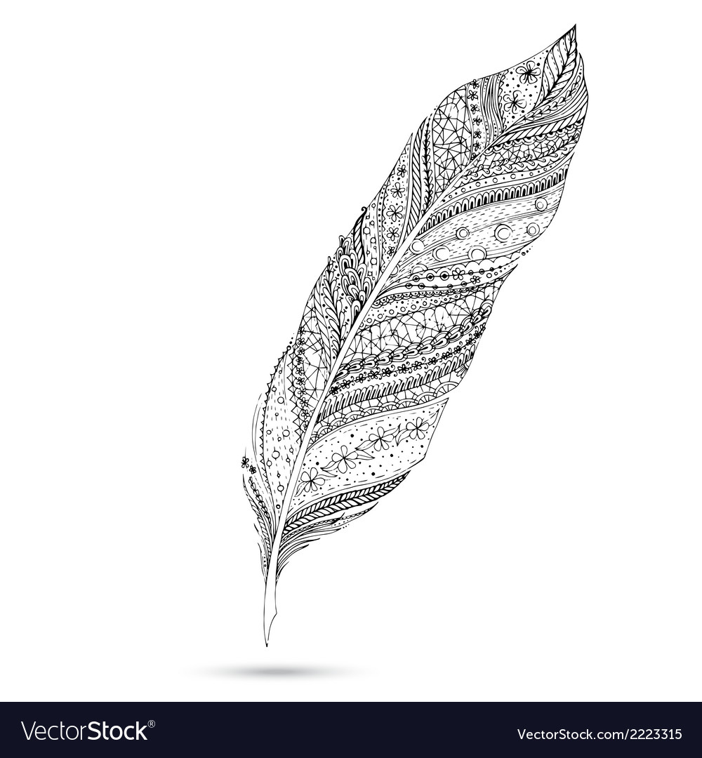 Artistically drawn stylized feather on a white