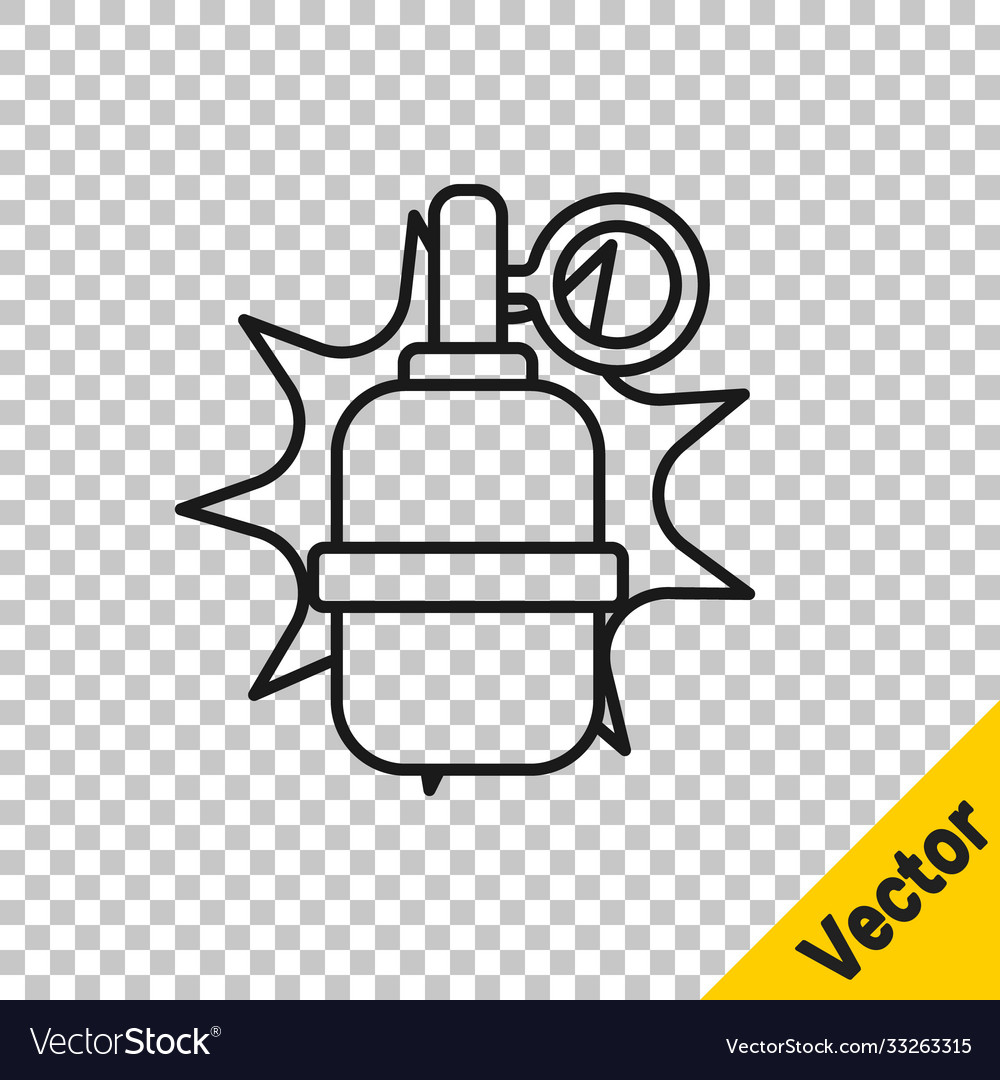Black line hand grenade icon isolated on