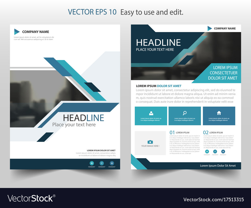 Blue abstract brochure annual report flyer design vector image