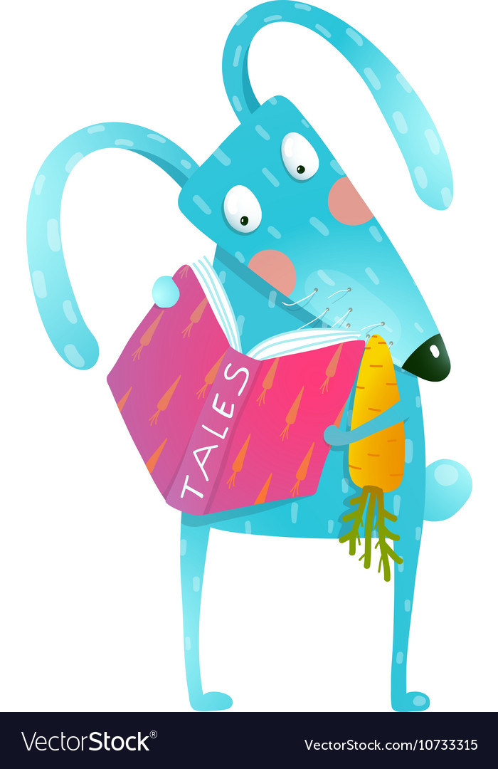 Cartoon blue bunny reading book eating carrot