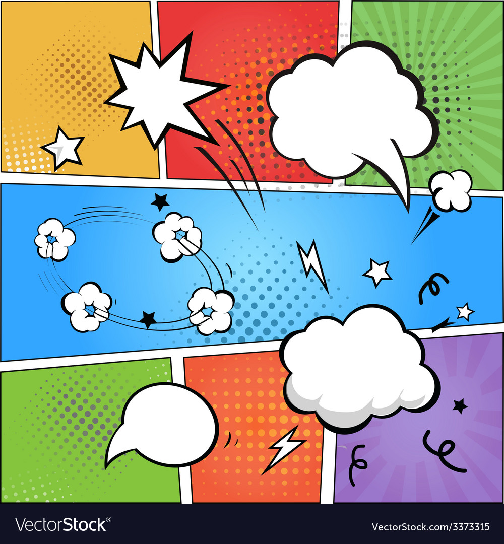 Comic strip and comic speech bubbles on colorful