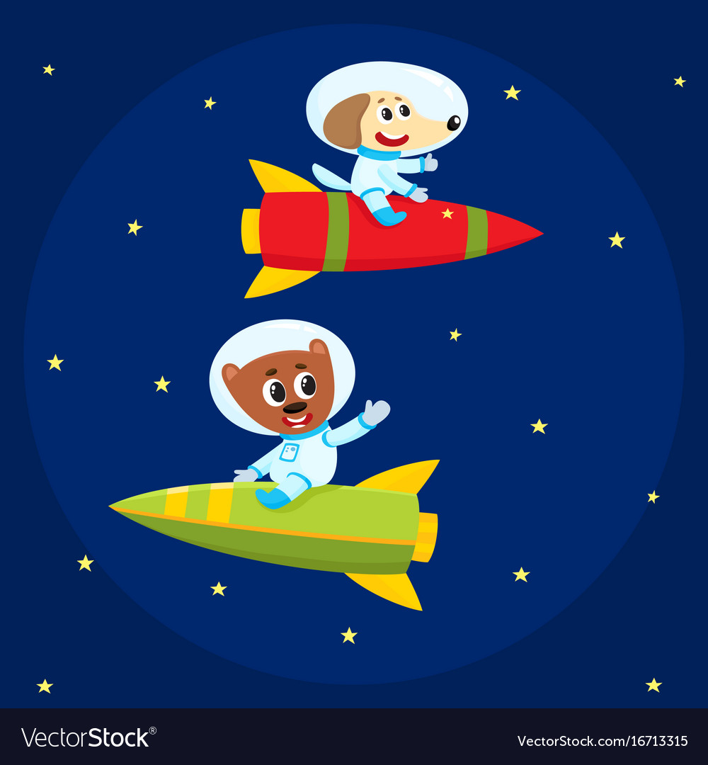 Dog and bear astronauts spacemen riding rockets