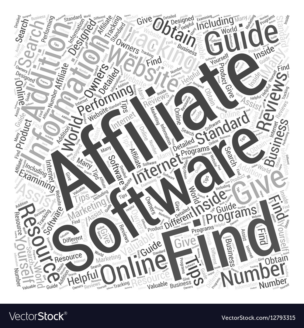 How to Find Affiliate Tracking Software Word Cloud vector image