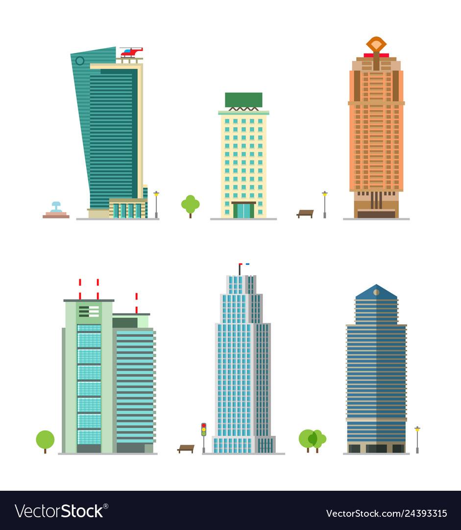 Modern city building retro constructions gaming