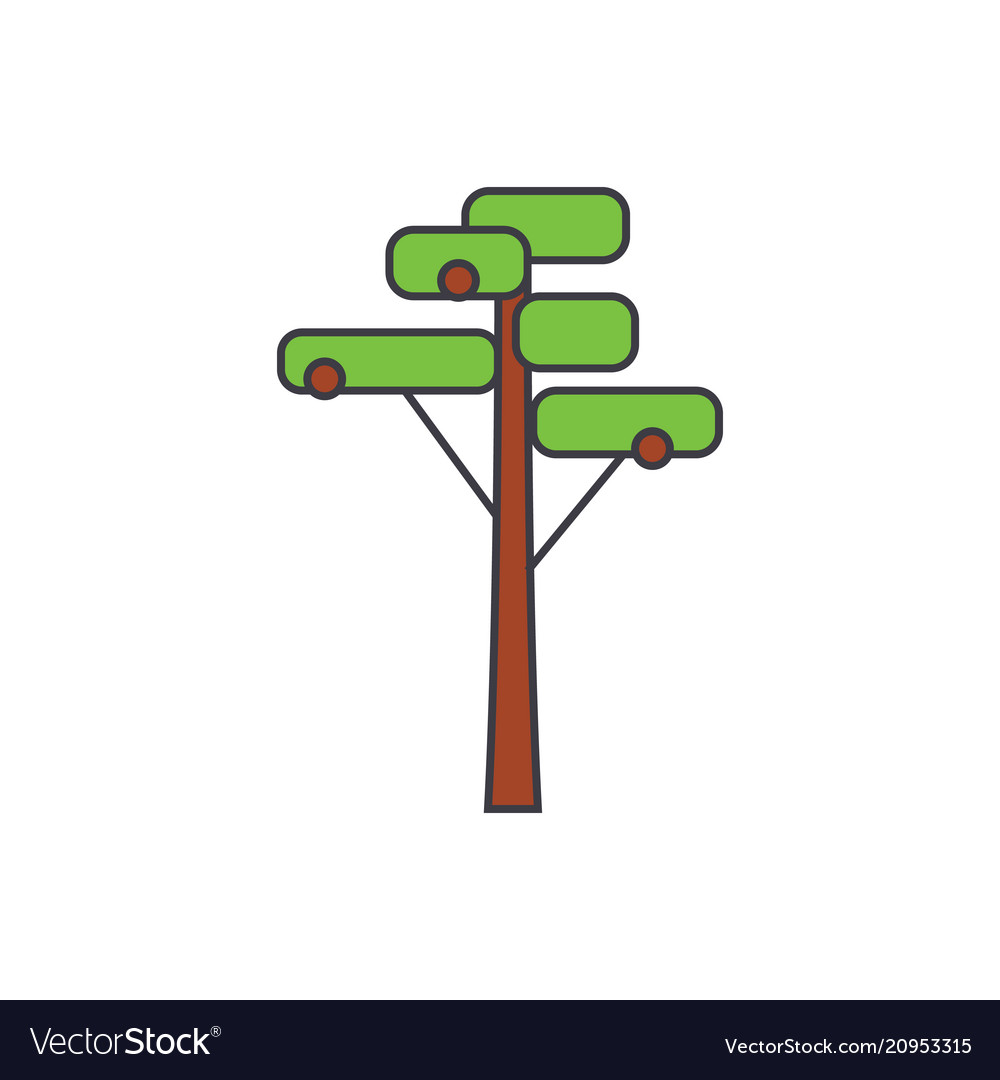 Pine tree line icon concept pine tree flat vector image