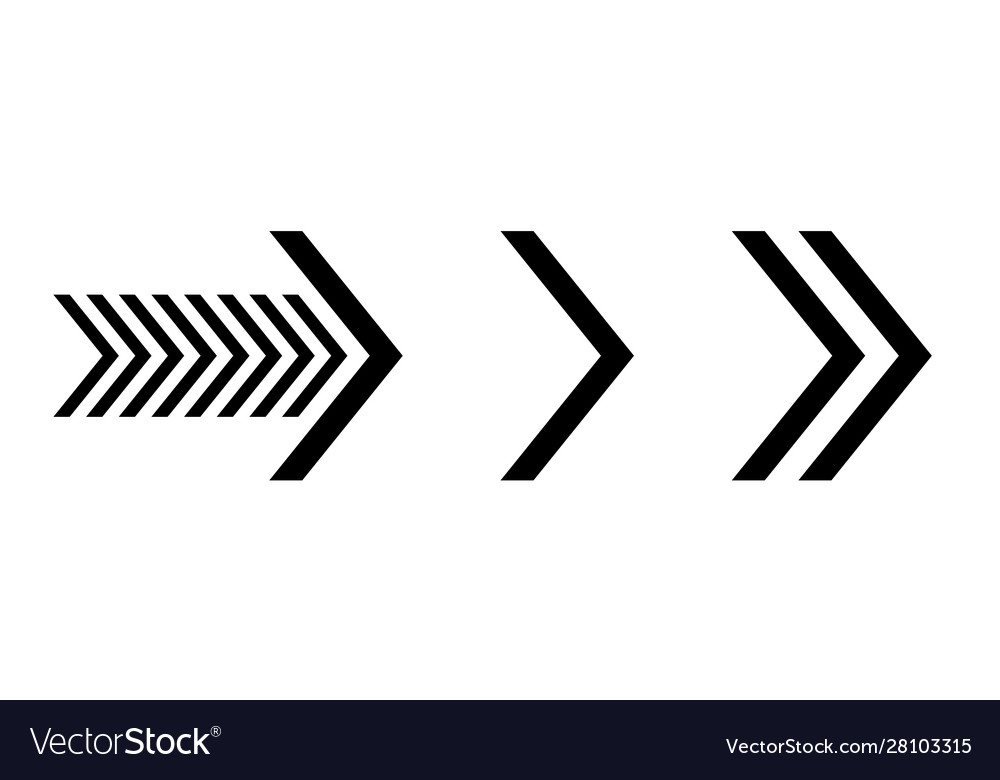 Set new style black arrows isolated on