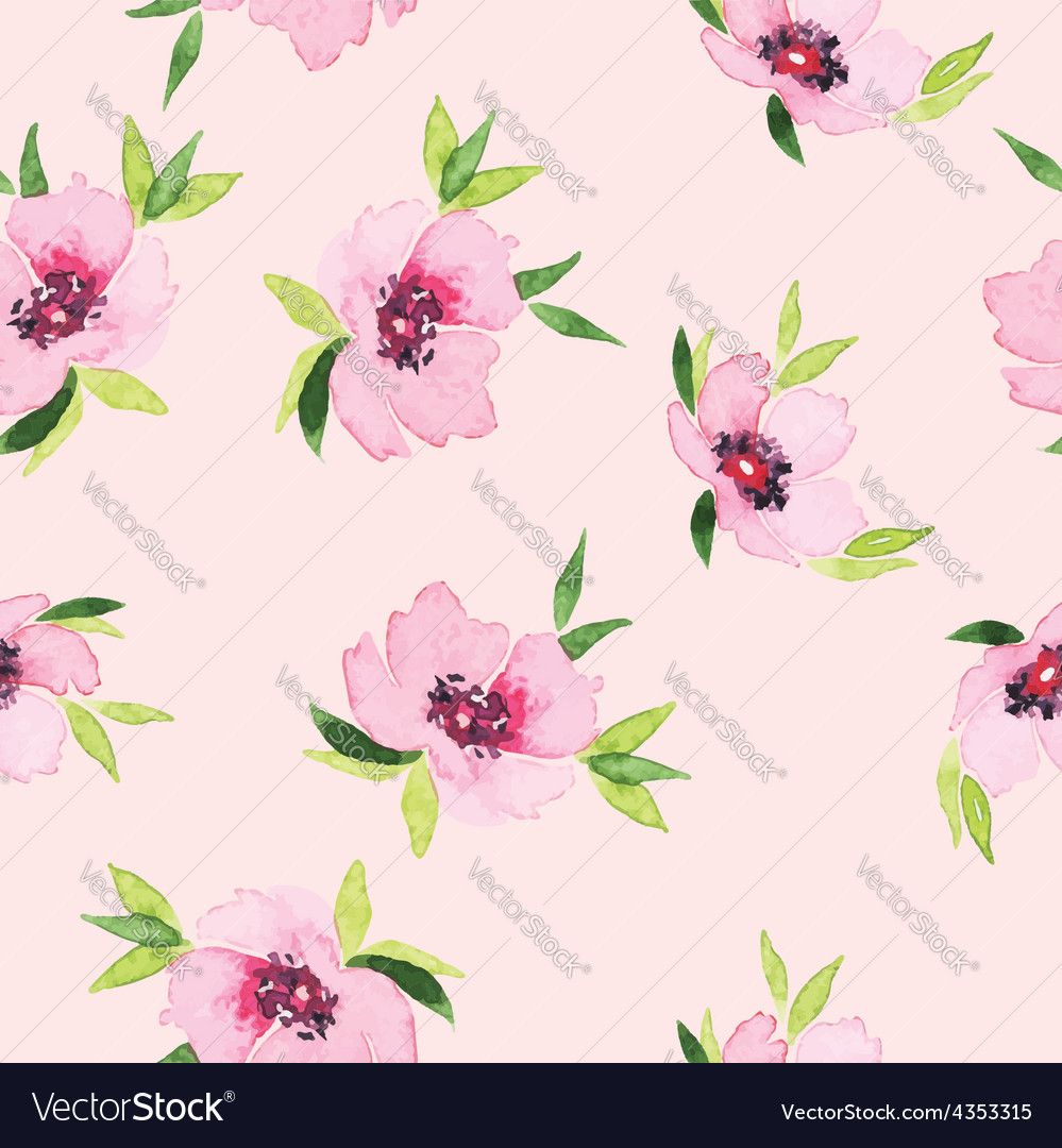 Spring flowers seamless pattern Watercolor