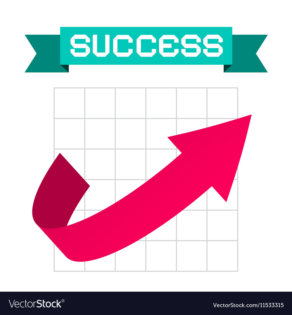 Success Arrow on Graph and Retro Ribbon