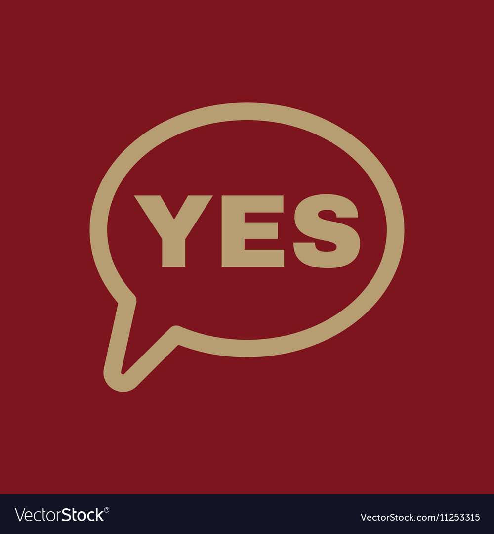 The YES speech bubble icon Yes symbol Flat vector image