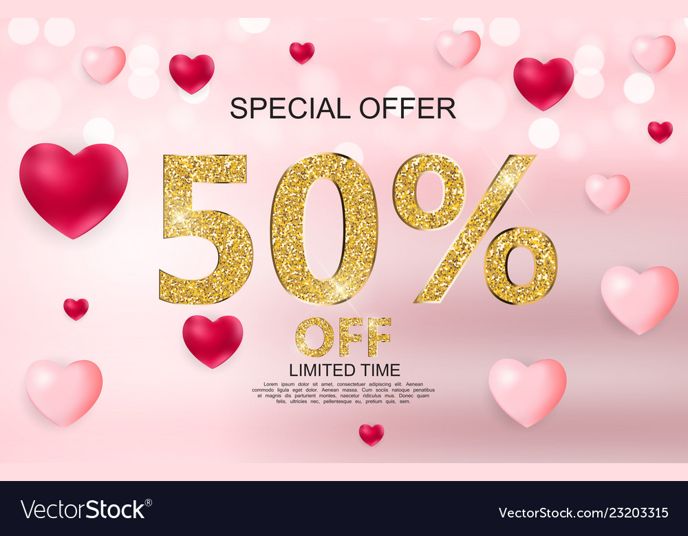 Valentines day sale discont card