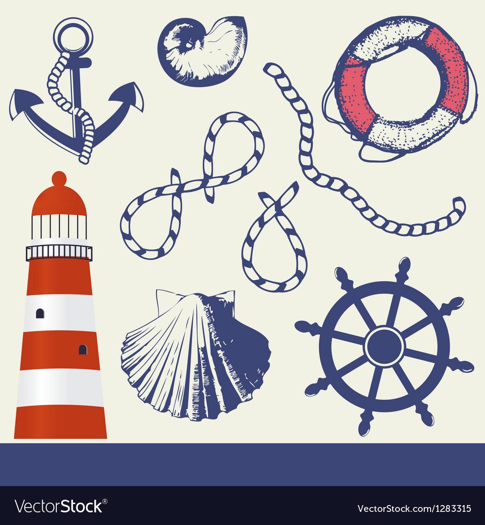 Vintage marine elements set