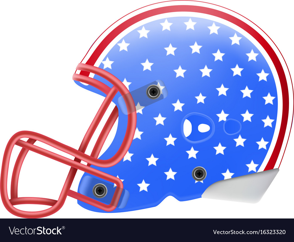 Blue american football helmet with stars side view