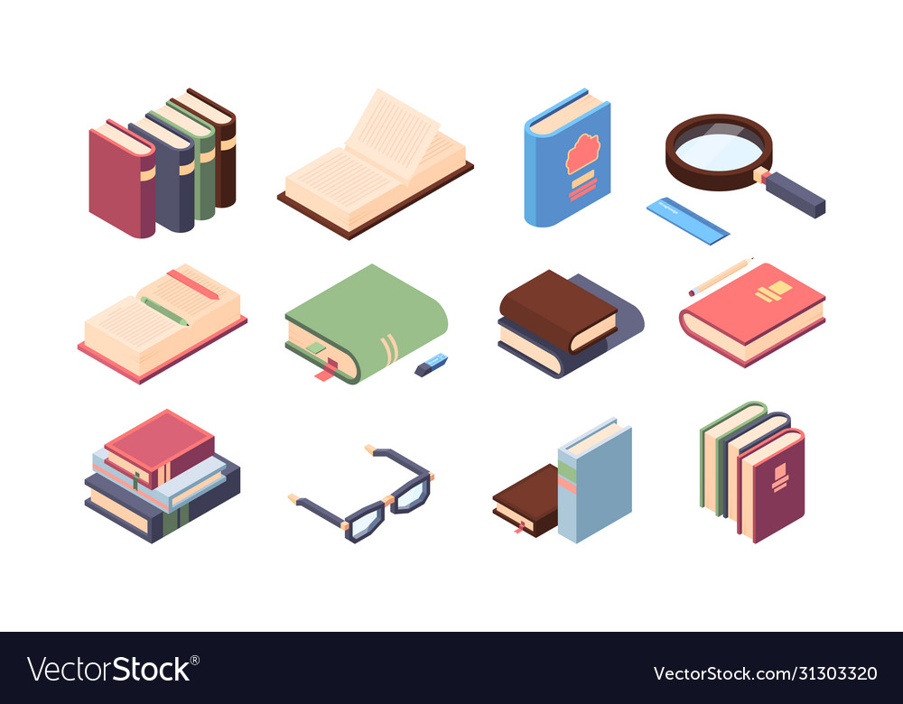 Book reading set encyclopedia and textbooks