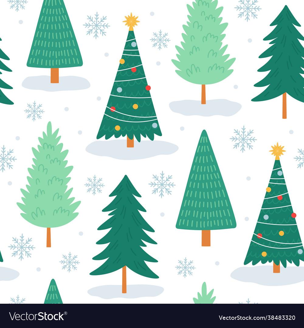 Christmas tree seamless pattern noel print