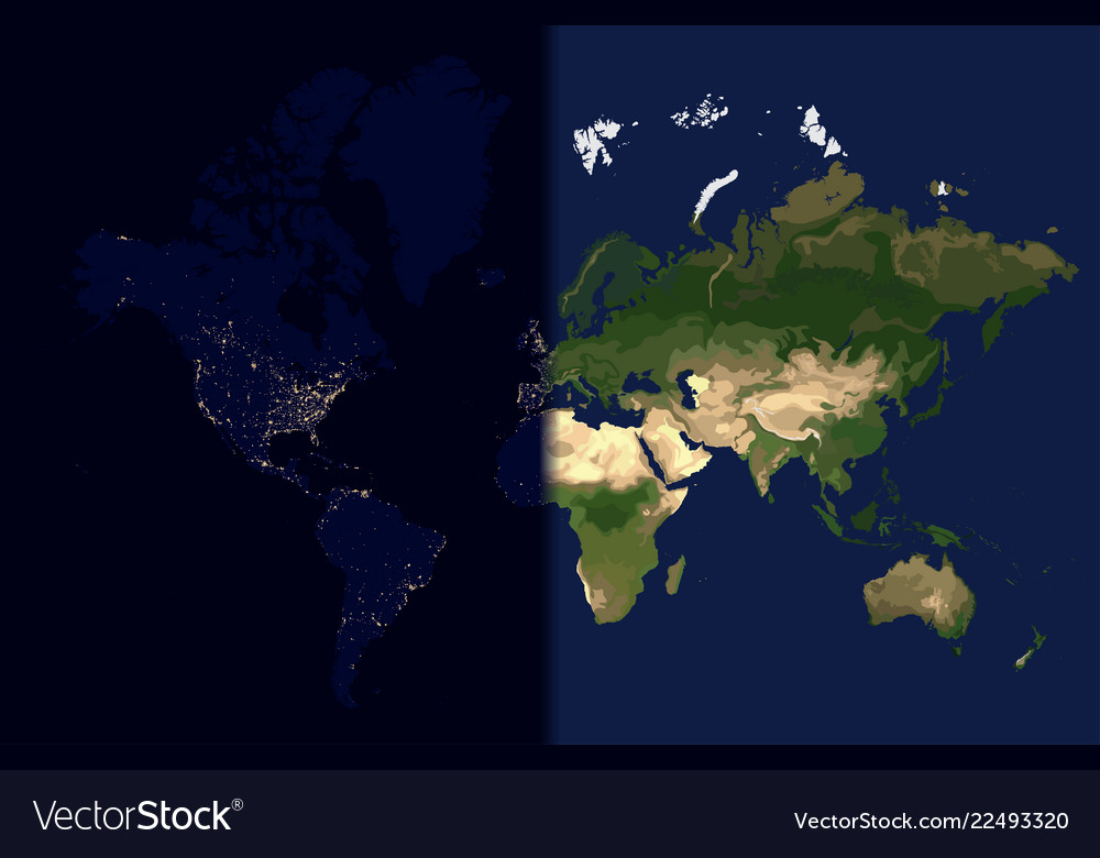 Day in the east night in the west world map Vector Image Day Night Map on