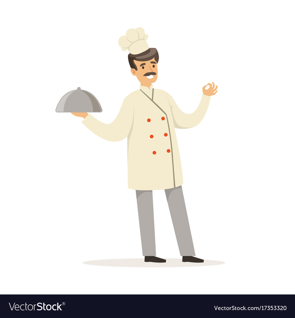 Friendly male chef character in uniform holding vector image
