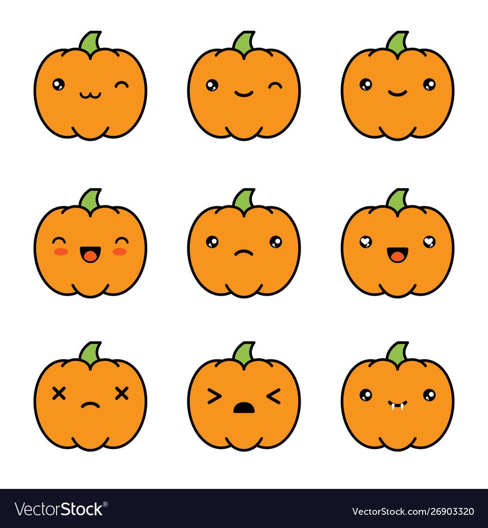 Halloween kawaii cute pumpkin icons isolated on