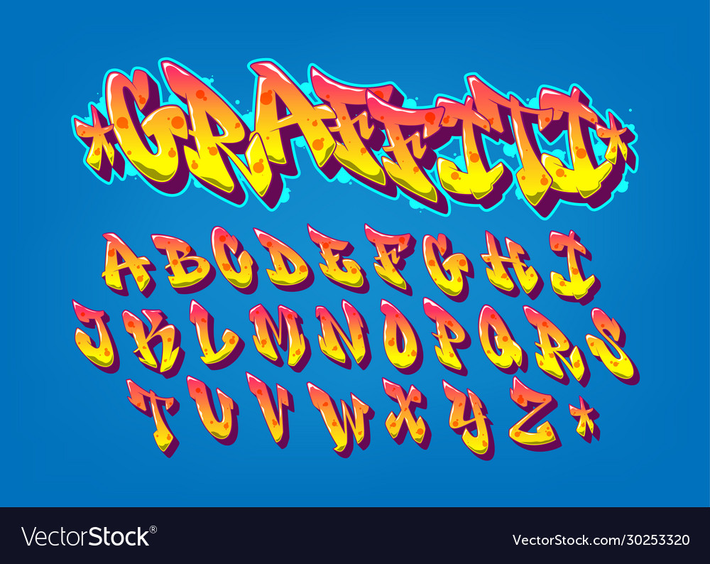 Handwritten graffiti font alphabet old school