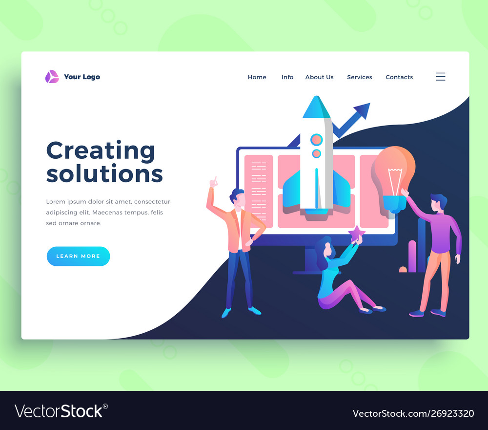 Landing page creating solution concept with office