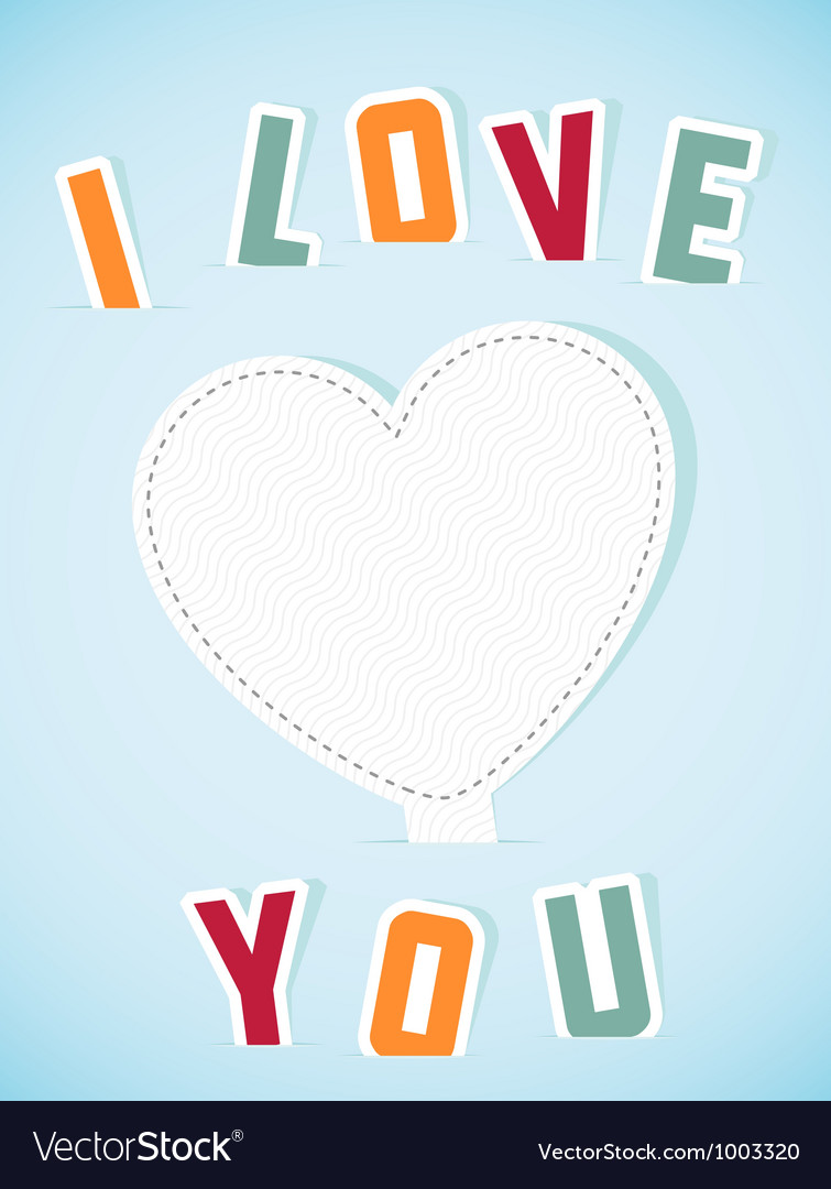 Paper heart banner with text I love you