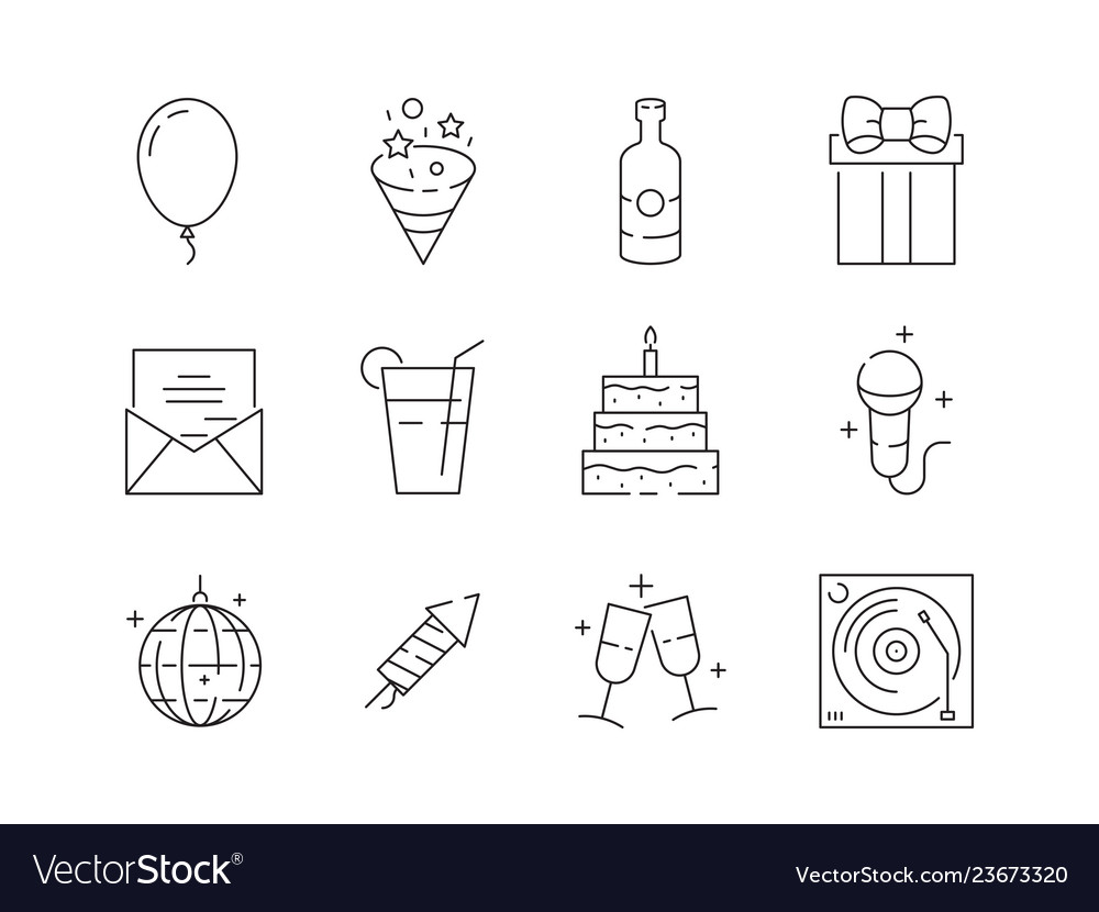 Party thin icons event celebration birthday fun