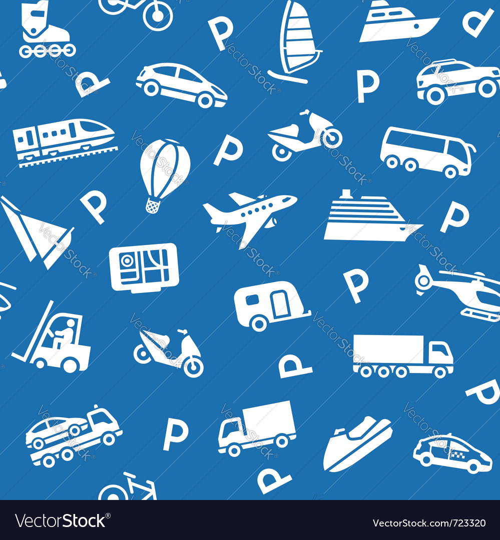Seamless background white transport icons vector image