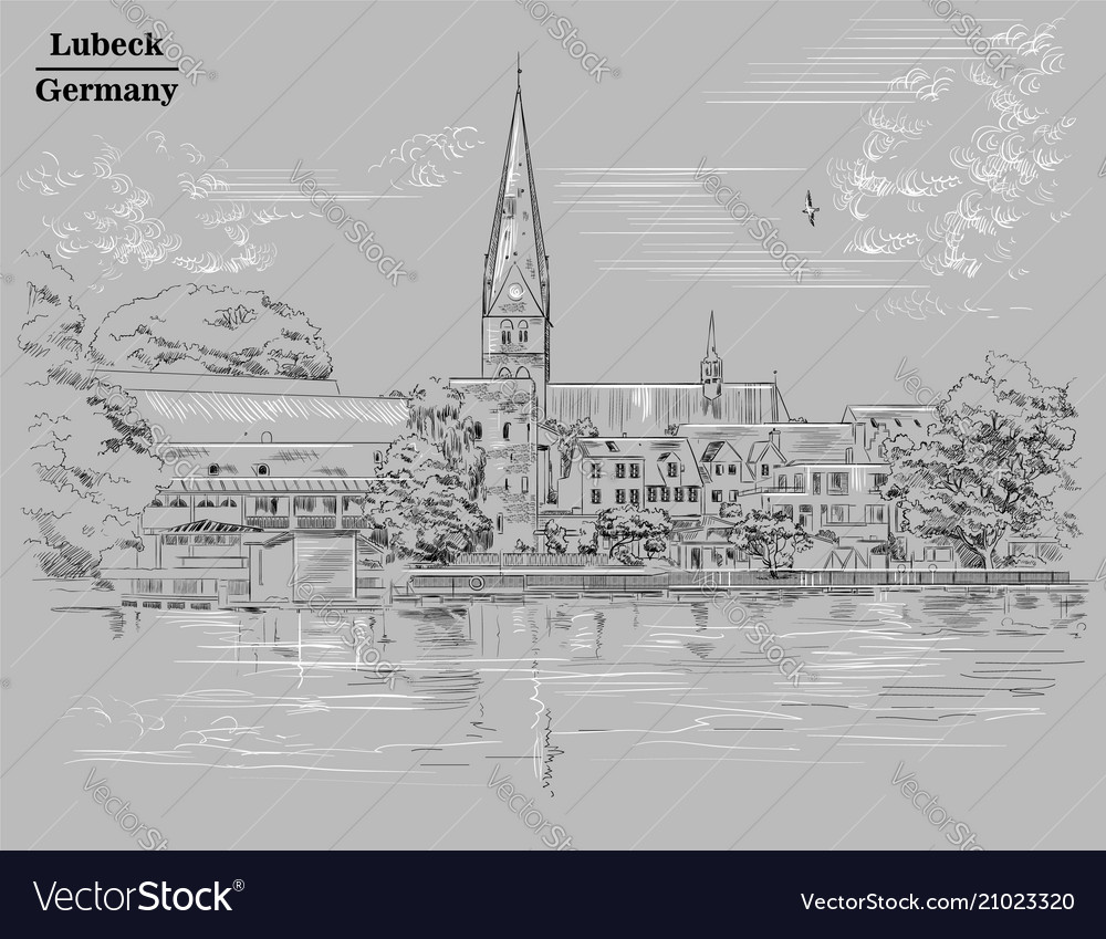 View on church of st mary in lubeck grey