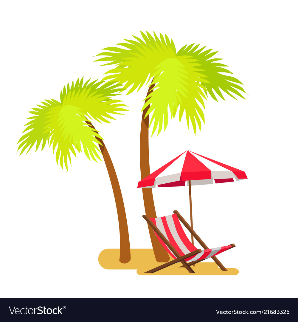 Abstract summer beach lounger and palm trees