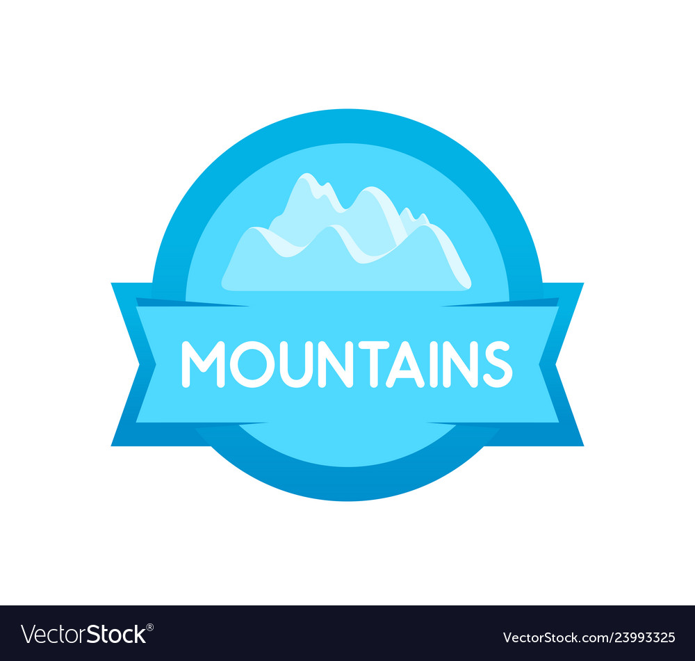 Badge round shape of mountains blue form